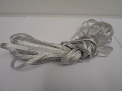 Silver 3mm Glitter Satin Ribbon, Double sided, Christmas ribbon